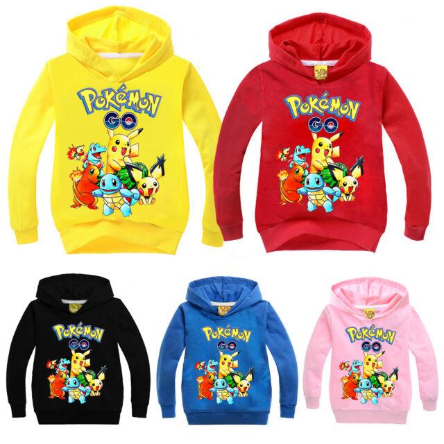 Pokemon Pikachu Kids Girl Boy Clothing Hoodies Sweatshirt Hooded Jumper Sweater