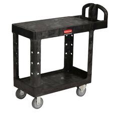 Rubbermaid Commercial 452500bk Flat Shelf 2 Shelf Utility Cart Black New