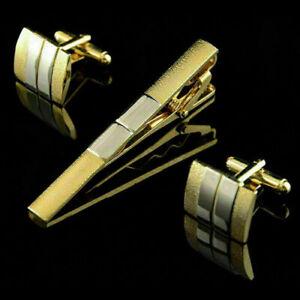Hommes-cravate-en-metal-cravate-barre-fermoir-clip-boutons-de-manchette-ensemb