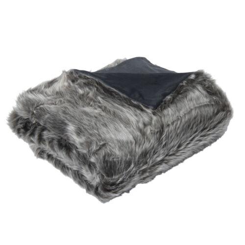 Faux Fur Grey Wolf Plush Lux Cozy Soft Blanket Throw 125x150cm **FREE DELIVERY**