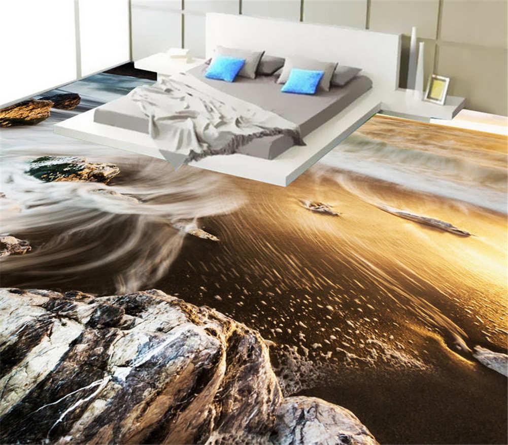Nassen Sand 3D Fußboden Wandgemälde Foto Bodenbelag Tapete Zuhause Dekoration