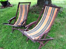 2 Vintage Striped Canvas Wood Folding Ship Deck Lawn Chairs pair