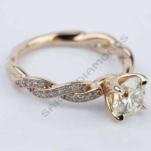 1.25 CT Designer Engagement Wedding Ring in 14K Rose Gold Over Signity Diamond