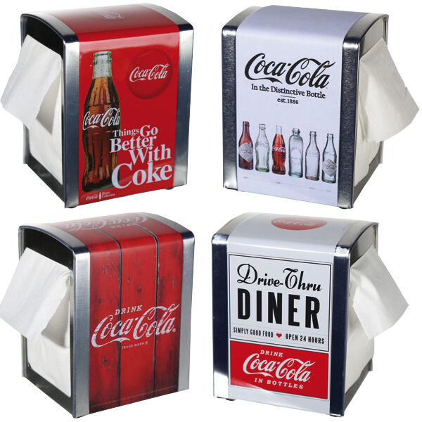COCA COLA NAPKIN DISPENSER SERVIETTE KITCHEN BAR RESTAURANT PARTY PRE FILLED 100