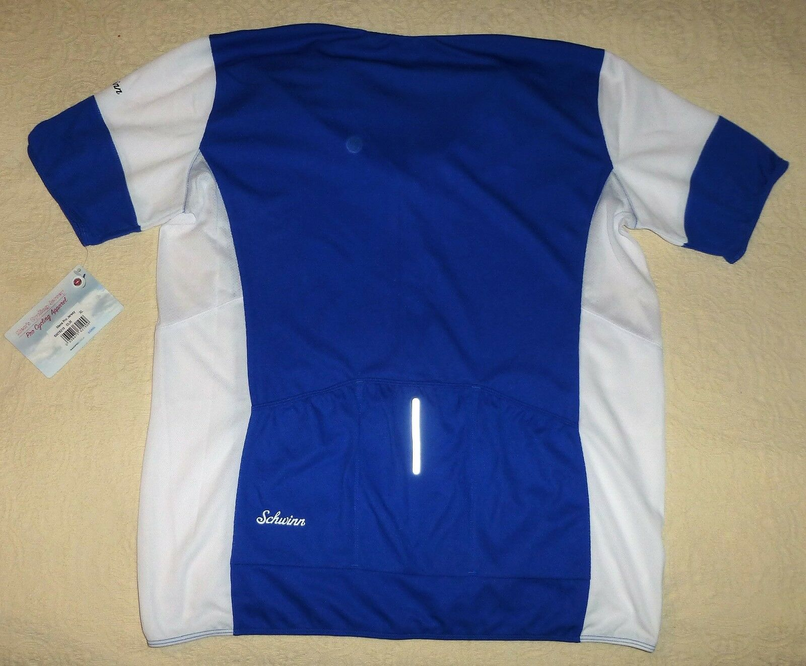 Medium Men s Schwinn Pro Blue   White Cycling Jersey Full ZIPPER ... 72f649c21