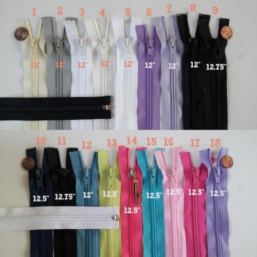 """12.75/"""" Inch #5 Nylon Jacket Zipper 12/"""" Open End Jacket Zippers 12.5/"""" J12"""