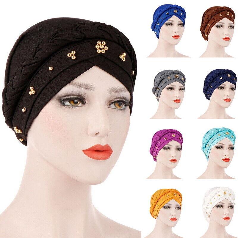 Damen Turban Haarband Chemomütze Bandana Wickeln Hut Kopftuch Yoga Sports Mütze
