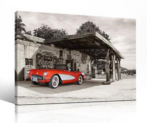 Leinwandbild-034-Route-66-car-05-034-Corvette-C1-Oldtimer-USA-alte-Autos-Fotocomposing