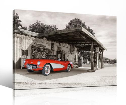 """Canvas Picture /""""route 66 Car 05/"""" Corvette C1 Vintage USA OLD CARS PHOTO"""