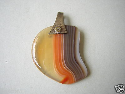 Precious Metal Without Stones Forceful Alter Silber Anhänger Mit Achat Farbstein Scheibe 4,7 G/3,6 X 2,5 Cm Reasonable Price Agate