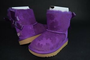 228ce12104a Details about NIB Toddler Mini Bailey Bow Flowers II 1091969 Purple sz 7-9  Boots Fur Shearling