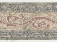 Croscill Benetello Geometric Floral Blues Greens Rose Wall Border Wallpaper 15'
