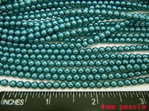 Petrol Light Blue nacre pearl color Czech Round Glass Imitation loose Pearls