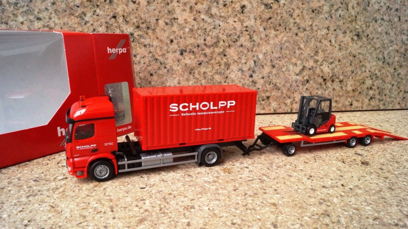 Herpa MERCEDES-BENZ AROCS contenitore-camion con tu3 e carrelli elevatori  Scholpp