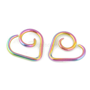 2pc-16G-Rainbow-Anodized-on-TITANIUM-Heart-Seamless-Ring-Cartilage-Daith-Tragus