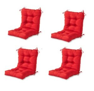 Details About Modern Red Outdoor Chair Cushion Set Of 4 Thick Patio Seat Replacement Cushions