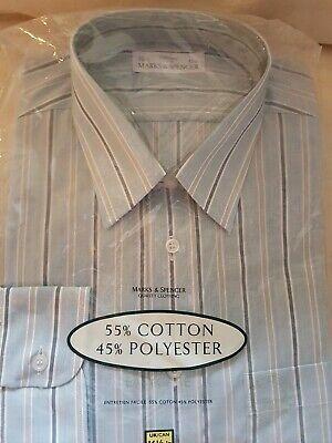 *** Vintage Formale Camicia 1990 Circa Marks And Spencer *** 16 1/2 Collr-mostra Il Titolo Originale Alta Sicurezza