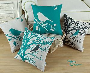 CaliTime-Teal-Shadow-Bird-Tree-Cushion-Cover-Linen-Throw-Pillow-Shell-Decor-45cm