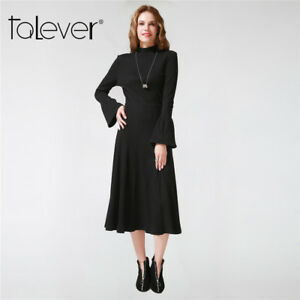 Maxi black dresses with long sleeves for women