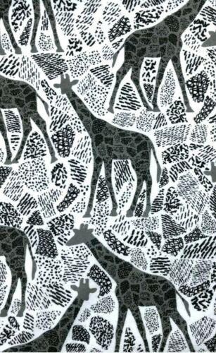 """1m White Grey Abstract Giraffes  Soft Brushed Cotton Print Fabric 44/"""""""