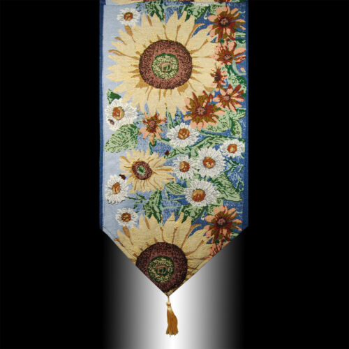 VINTAGE COUNTRY SUNFLOWERS TAPESTRY TASSEL WEDDING PARTY BED TABLE RUNNER CLOTH