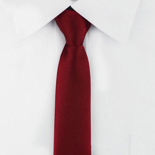Men Narrow Solid Color Skinny Slim Tie Wedding Party Color Necktie