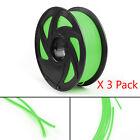 3Pcs 3D Printer Filament 1.75mm PLA 1kg For Drawing Print Pen MakerBot Green UE