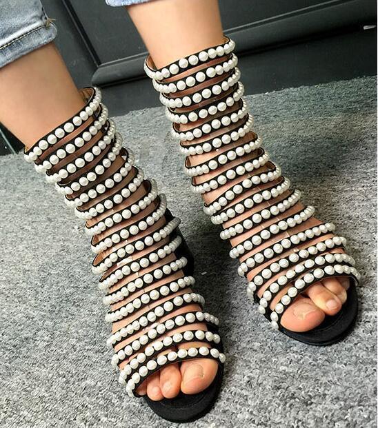 Nuevo Mujeres Perla botas al al al Tobillo Sandalia con Tiras Puntera Abierta Zapatos Con Cremallera Gladiador Romano  Disfruta de un 50% de descuento.