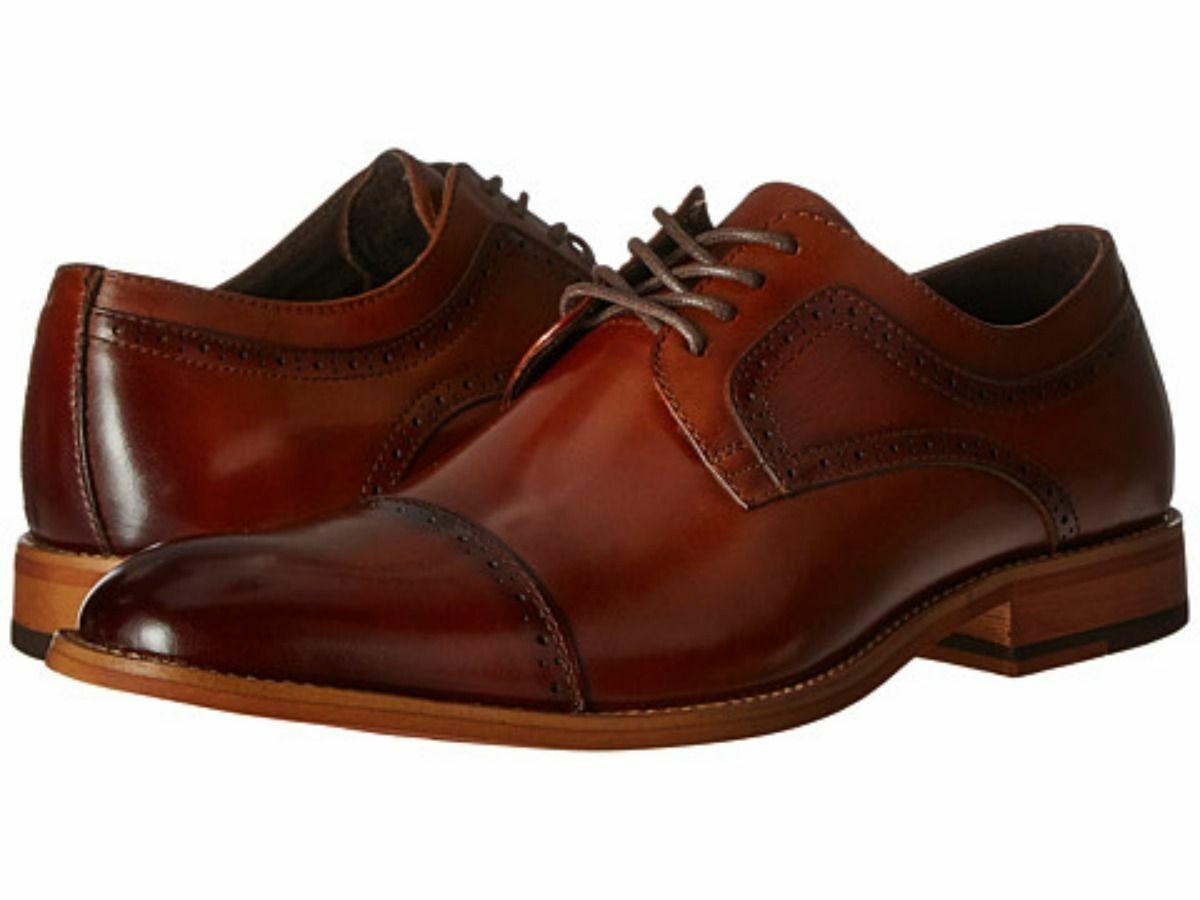 Mens Handmade scarpe Stacy Dickinson Cap Toe Oxford Cognac Leather Dress avvio New
