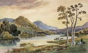 RYDAL-WATER-CUMBRIA-LAKE-DISTRICT-Victorian-Watercolour-Painting-19TH-CENTURY