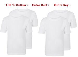 Pack of 1x 2x 3x 5x Fruit Of The Loom Boys Girls Kids White T-Shirts Uniform