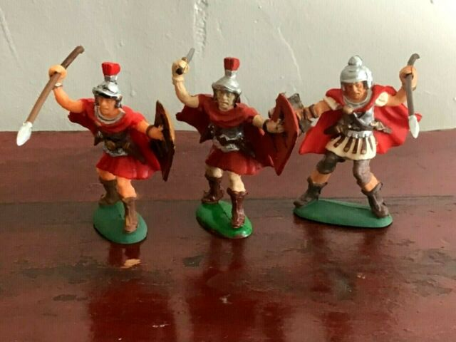 3 Ancient Roman Legionaries. Atlantic 60mm plastic toy soldiers