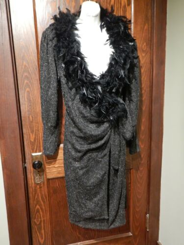 VINTAGE GLAM black shimmer feather boa robe sparkl