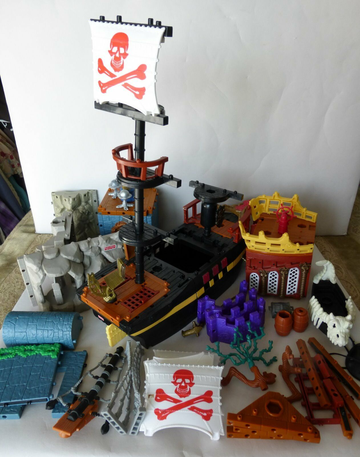 Fisher Price Imaginext Pirate Ship Rope Dragon Seaweed Wall Boat Crows Nest Lot