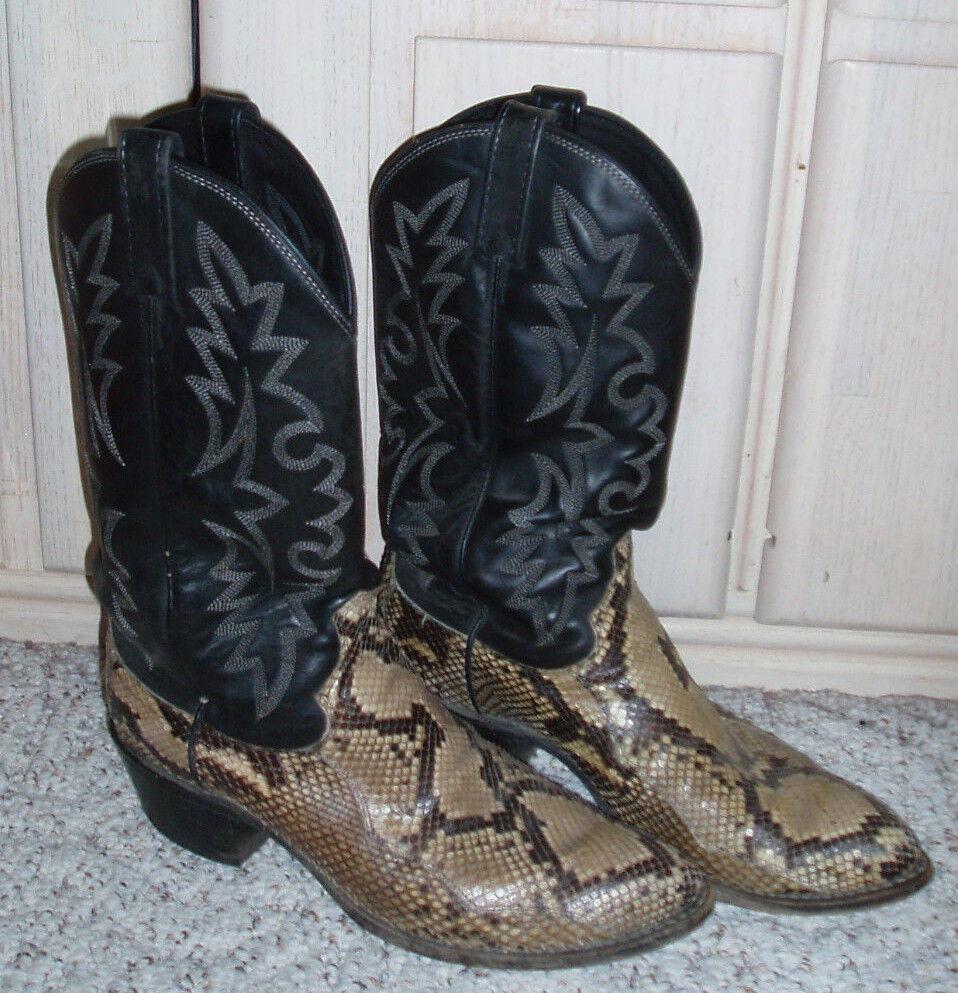 Patrón de serpiente de cuero para hombre DAN POST botas de vaquero occidental   Marrón Negro Tamaño 8.5 D