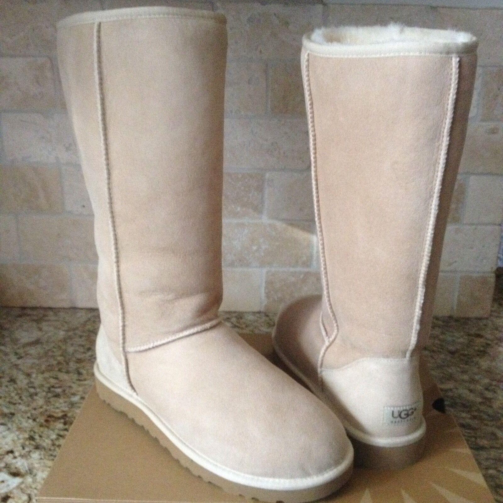 Botas de piel de oveja UGG Classic Tall Sand Beige Suede Tamaño US 10 para mujer NUEVO