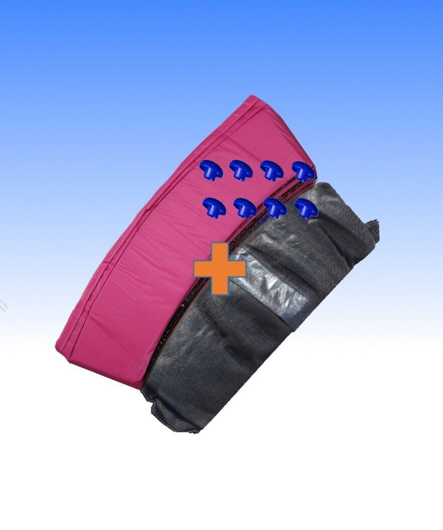Cama elástica borde cubierta rosado + rojo de seguridad 8 barras 244 305 366 396 427 457cm