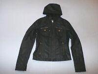 Krush Women's Faux-fur-lined Hooded Faux-leather Jacket Black Size Xs $69.50