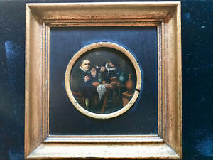 Dutch-Baroque-Style-Oil-Painting-Tavern-Scene-2-Men-Smoking-and-Drinking