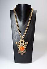 Vtg CastleCliff Larry Vrba Aztec Gold Tone & Enamel Pendant Necklace Chunky