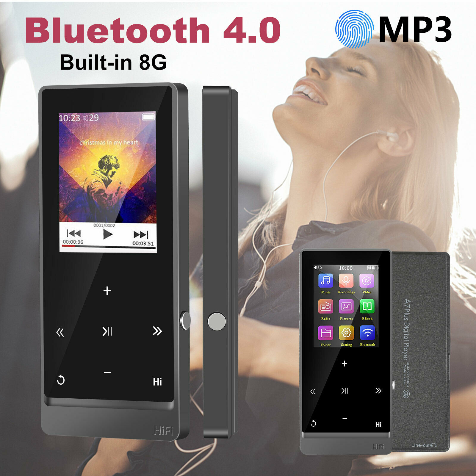 Blue Support up to 128GB TF Card Tuscom MP3//MP4 Player with Earphones 70 Hours Playback Portable HiFi Lossless Sound MP3 Music Player Digital Voice Recorder FM Radio E-Book Reader
