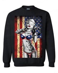 67698896a7d45 Marilyn Monroe Bikini American Flag Crewneck 4th of July USA Pride ...