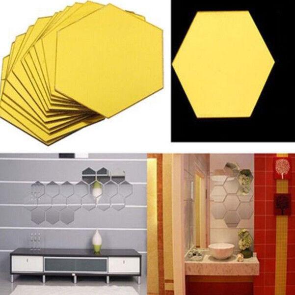 12Pcs 3D Mirror Hexagon Vinyl Removable Wall Sticker Decal ...