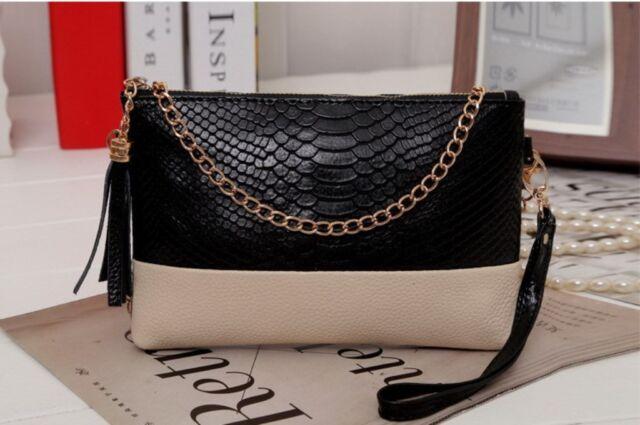 Women Leather Tassel Embossing Evening Shoulder Bag Purse Clutch Handbag Gift UK