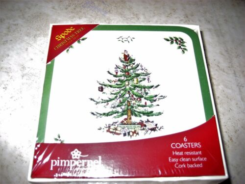 Set of 6 Pimpernel Spode Christmas Tree Coasters Square Cork Back With Gift Box