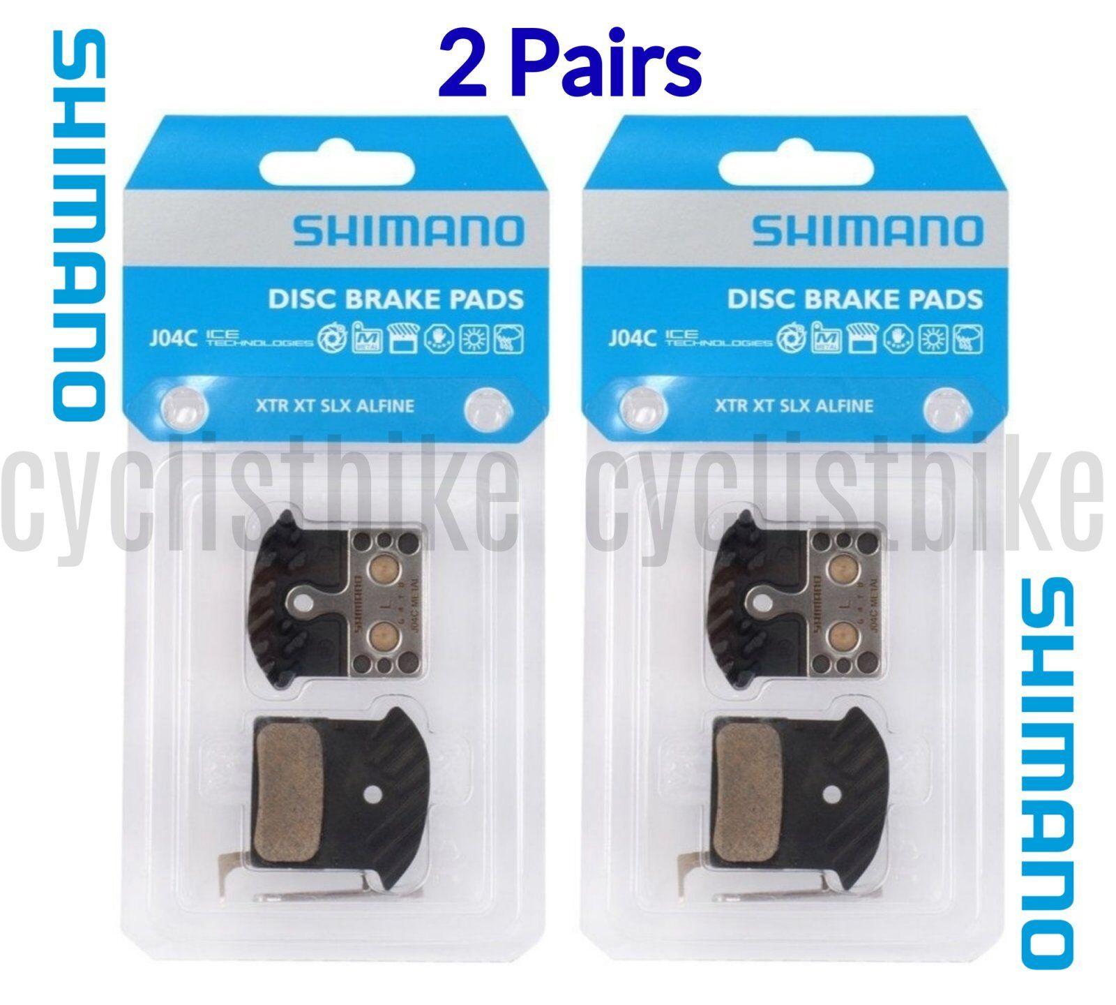 (2 Pairs) Shimano J04C  Metal Disc Pads for XTR XT SLX w Cooling Fin & Spring NIB  order now
