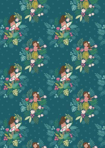 Fat Quarter Island Girl Polynesian Look Dark Teal 100/% Cotton Quilting Fabric