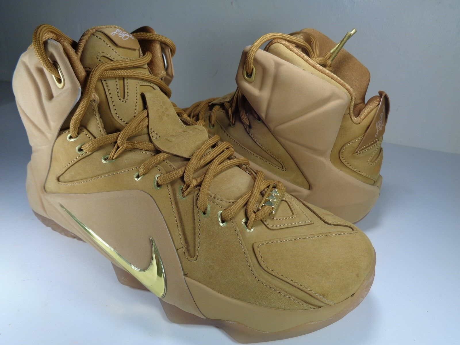 Nike Lebron XII Metallic 12 EXT QS Wheat Metallic XII Gold Gum OG James SZ 9.5 (744287-700) 6e090f