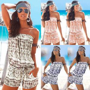 74775901f3e Women s Bandeau Mini Playsuit Summer Romper Casual Jumpsuit Shorts ...