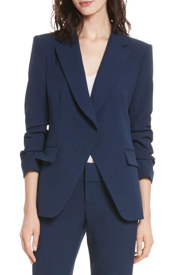 NEW Alice + Olivia Helena Ruched-Sleeve Blazer, Sapphire - Size 6  C348